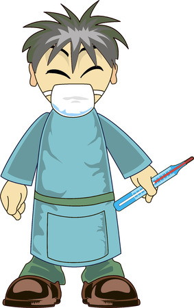 surgeon mask: Illustration of a cartoon asian doctor holding a thermometer Illustration