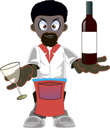 steward: Illustration of a african american waiter with a bottle of wine on a white background