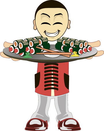 cartoon human: Illustration of a asian waiter on a white background