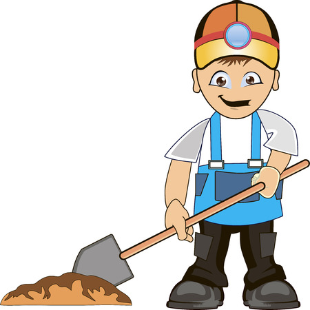 grounds: Building man shovel wearing helmet and dig ground.