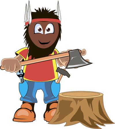 logging: Cartoon lumberjack holding an axe. Isolated on white. Illustration