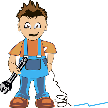 tradesperson: Plumber dressed in clothes of work, in a tool in the hand Illustration