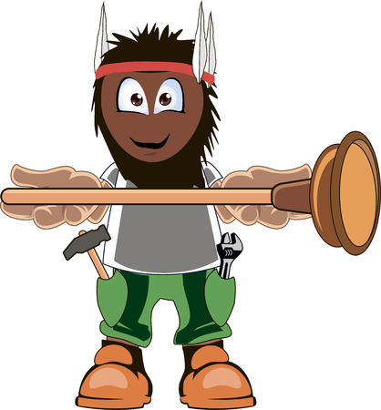 tradesperson: A cartoon plumber holding plunger and smiling