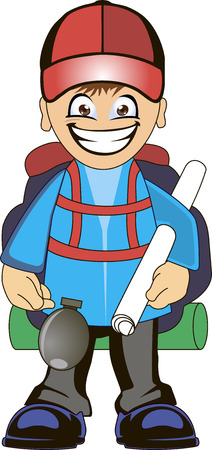 backpacker: Cartoon traveler with a large backpack and map. Backpacker illustration.
