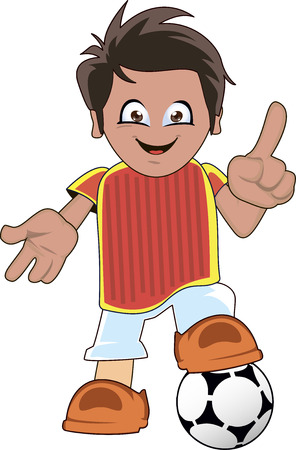standing on one leg: Soccer or football player cartoon standing with one leg on the ball and smiling