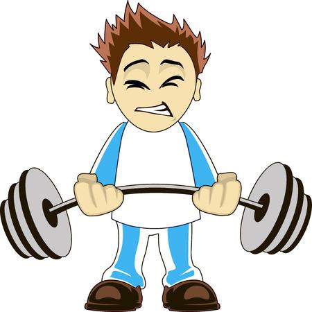 Illustration of a cartoon bodybuilder lifting heavy weights