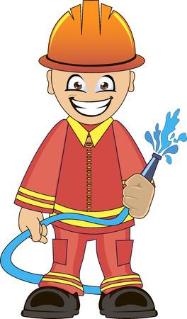 borne fontaine: Cartoon illustration d'un pompier en uniforme avec un tuyau d'incendie Illustration