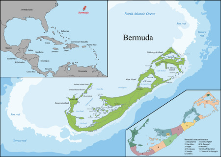geographically: Bermuda is a British Overseas Territory in the North Atlantic Ocean, located off the east coast of North America. Illustration