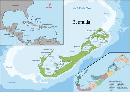 Bermuda is a British Overseas Territory in the North Atlantic Ocean, located off the east coast of North America. Ilustração