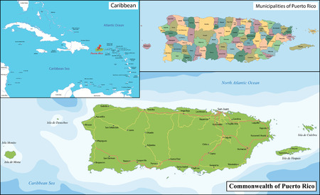 geographically: Puerto Rico, officially the Commonwealth of Puerto Rico is a United States territory located in the northeastern Caribbean. Illustration