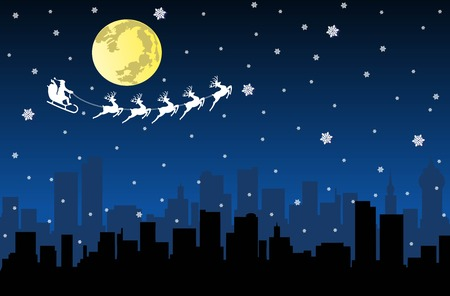 blue santa: Silhouette of city and Santa and Christmas Reindeer. Illustration