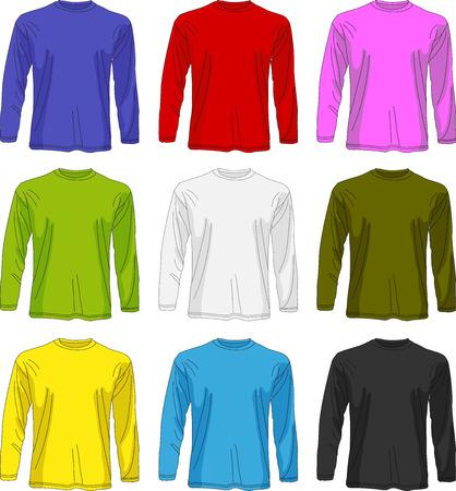 sleeved: Illustration of men long sleeved t-shirt template in many color, front design