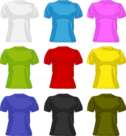 short sleeved: Woman body silhouette with colorful collection of t-shirts