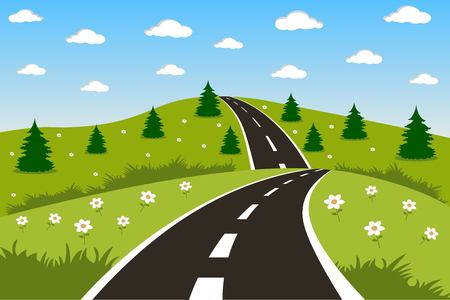 sky and grass: Beautiful green landscape illustration with a road Illustration