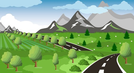 pastoral: Illustration of a cartoon summer or spring road to mountains landscape