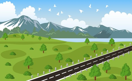 alpine: Illustration of beauty landscape fir tree and mountain background