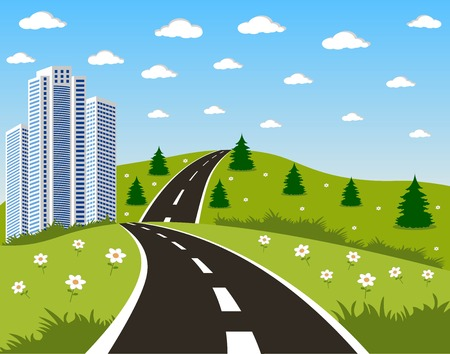 cartoon road: Cartoon illustration of a road to a city