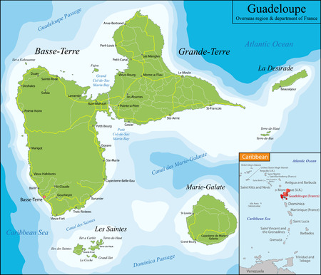 geographically: Guadeloupe  is an insular region of France located in the Leeward Islands, part of the Lesser Antilles in the Caribbean. Illustration