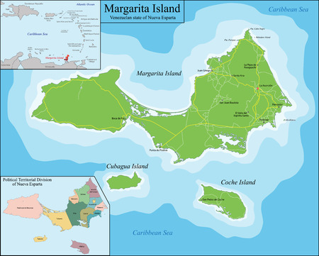 coche: Margarita Island is the largest island in the Venezuelan state of Nueva Esparta, situated off the northeastern coast of the country, in the Caribbean Sea