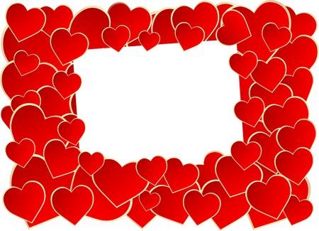 Rote Herz-Rahmen auf weißem Hintergrund.