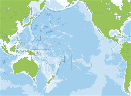 Oceania, also known as Oceanica, is a region centred on the islands of the tropical Pacific Ocean. Vetores