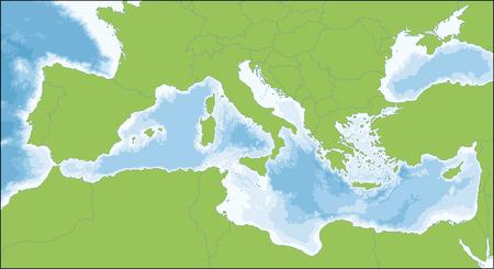 El mar Mediterráneo es un mar conectado con el océano Atlántico, rodeado de la región mediterránea y casi completamente cerrado por tierra. Ilustración de vector
