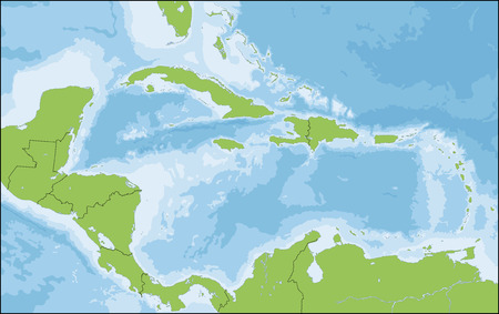 The Caribbean is a region that consists of the Caribbean Sea, its islands and the surrounding coasts. Illustration