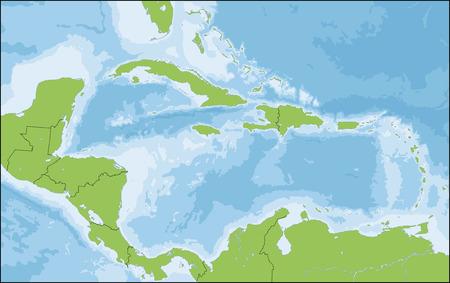 Het Caribisch gebied is een gebied dat bestaat uit de Caribische Zee, de eilanden en de omliggende kusten. Vector Illustratie