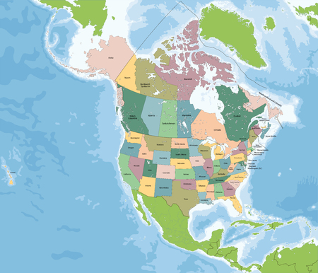 continente americano: Norteamérica es un continente totalmente dentro del hemisferio norte y casi todos dentro del hemisferio occidental. Los países más grandes del continente, Canadá y los Estados Unidos. Vectores