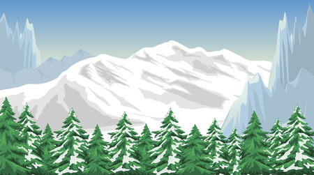 panoramic nature: Illustration of the mountain landscape in winter.