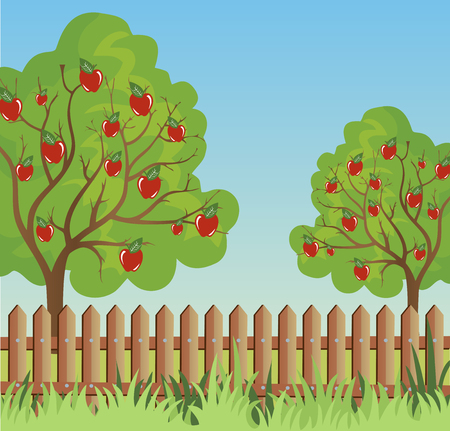 appletree: Ilustration of a rural landscape in a calm and tranquil environment
