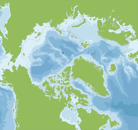 geographically: The Arctic Ocean located in the Northern Hemisphere and mostly in the Arctic north polar region.