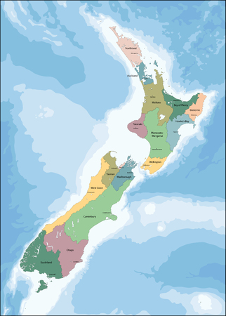 geographically: New Zealand is an island country in the southwestern Pacific Ocean. Illustration