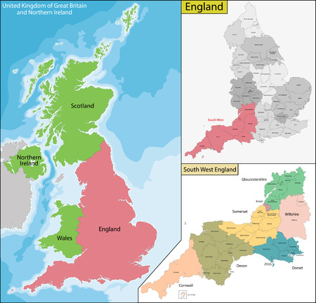 geographically: Map of the subdivisions of England with the highest tier of local government - North East