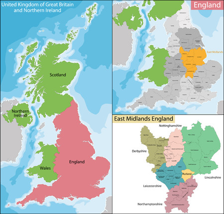irish cities: Map of the subdivisions of England with the East Midlands that is one of nine official regions