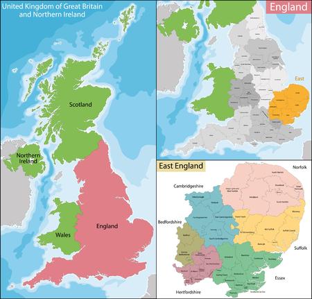 Kaart van de onderverdelingen van Engeland met het Oosten, dat is een van de negen officiële regio's