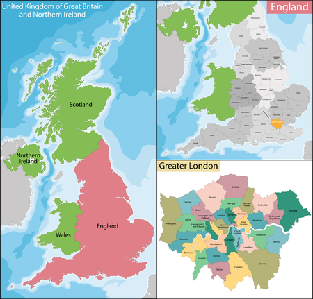 geographically: Map of the subdivisions of England with the Greater London that is one of nine official regions