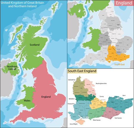 Map of the subdivisions of England with the South East that is one of nine official regions Illustration
