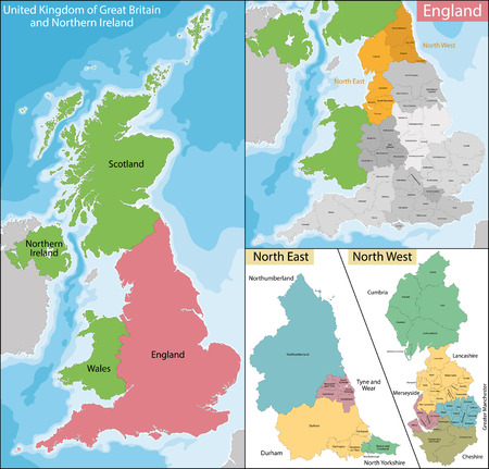 ireland cities: Map of the subdivisions of England with the North East and the North West