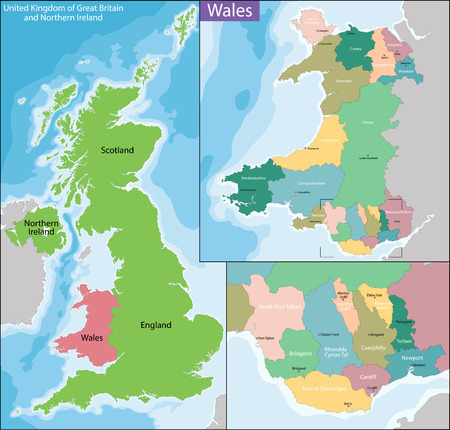 geographically: Wales is a country that is part of the United Kingdom. Illustration