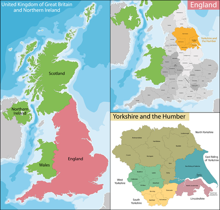briton: Map of the subdivisions of England with the Yorkshire and the Humber that is one of nine official regions Illustration