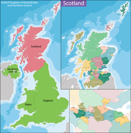 geographically: Scotland is a country that is part of the United Kingdom and covers the northern third of the island of Great Britain