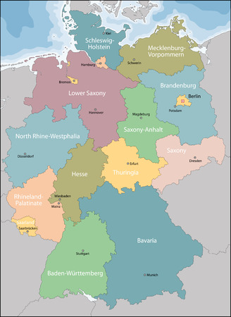 brandenburg: Germany map with regions and main cities Illustration