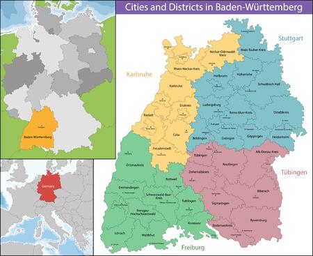 バーデン = ヴュルテンベルク州は上部のラインの東、南西部に位置するドイツの州