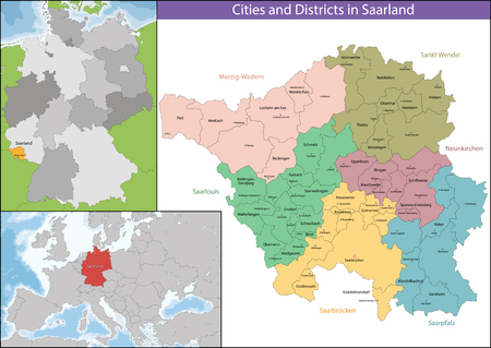geographically: The Saarland is one of the sixteen federal states of Germany Illustration