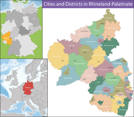 geographically: Rhineland-Palatinate is one of the 16 states of the Federal Republic of Germany Illustration
