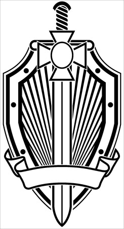 white coat: Coat of arms with shield and cross. Black and white illustration.