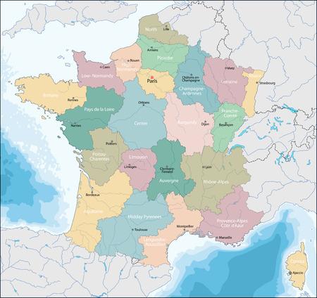 La Carte Détaillée De La France Avec Des Régions Ou Des états Clip Art  Libres De Droits , Vecteurs Et Illustration. Image 91117735.123RF