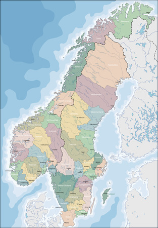 Map of Norway and Sweden Vector illustration. Illustration