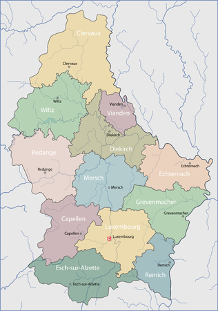 Map of Luxembourg 向量圖像